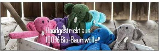 Kuscheltiere, gestrickt aus Bio-Baumwolle